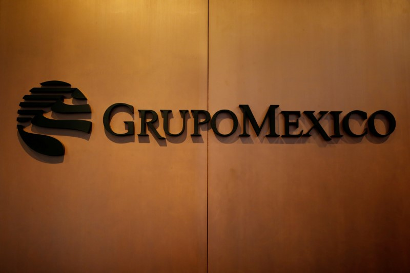 FILE PHOTO: Logo of mining and infrastructure firm Grupo Mexico is pictured at its headquarters in Mexico City