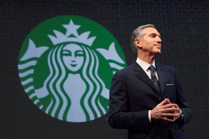 FILE PHOTO: Starbucks CEO Howard Schultz speaks during the company's annual shareholders meeting in Seattle, Washington
