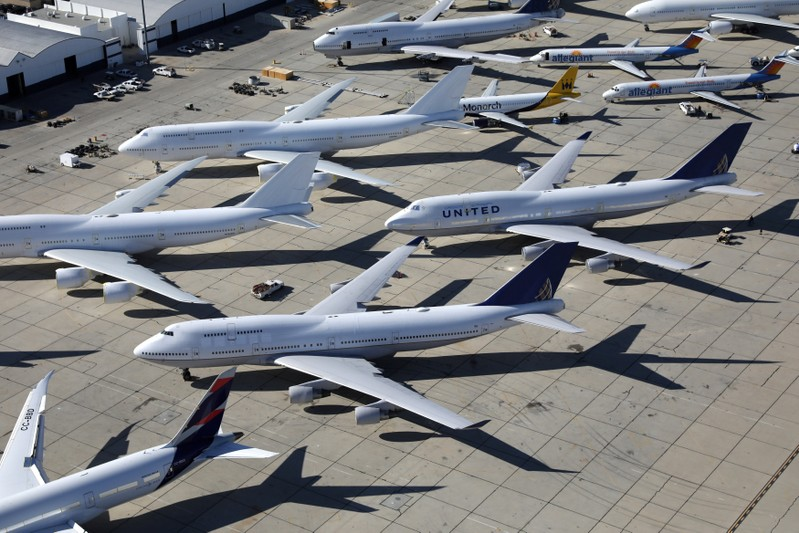FILE PHOTO: Planes sit in a desert graveyard near Victorville