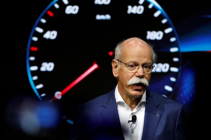Daimler CEO Dieter Zetsche speaks during a world premiere for new Mercedes Benz A-Class L Sedan in Beijing