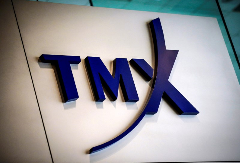 FILE PHOTO -  A TMX Group sign seen in Toronto