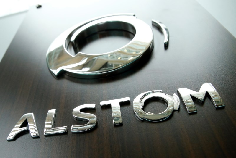 The logo of Alstom is seen before a news conference to present the company's full year 2016/17 annual results in Saint-Ouen