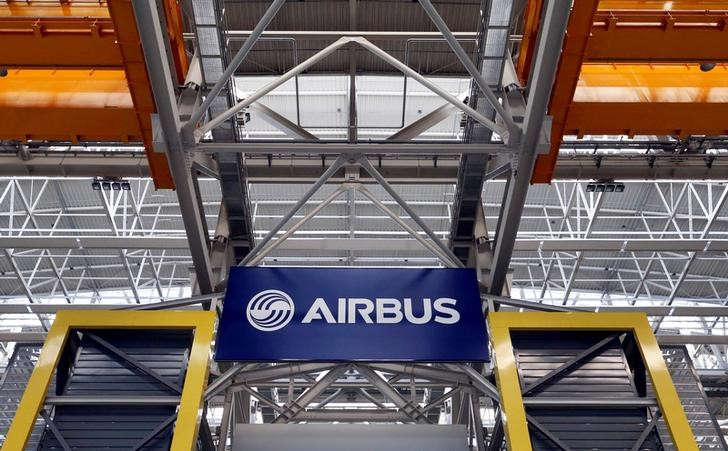 FILE PHOTO: Logo of Airbus is pictured at the Airbus A380 final assembly line at Airbus headquarters in Blagnac near Toulouse
