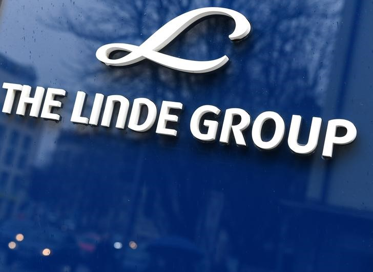 Linde Group logo is seen at company building before the annual news conference in Munich