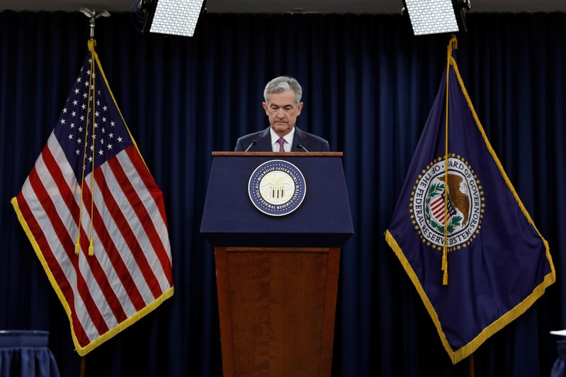 Federal Reserve Board Chairman Jerome Powell holds a news conference in Washington