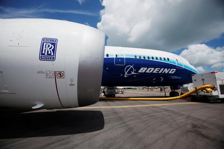 FILE PHOTO: View of one of two Rolls Royce Trent 1000 engines of Boeing 787 Dreamliner during media tour of the aircraft ahead of the Singapore Airshow in Singapore