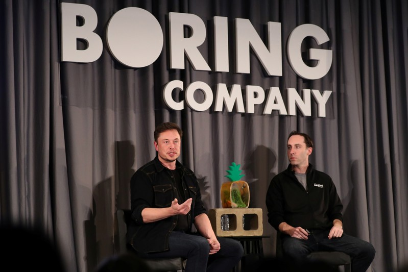 Elon Musk speaks at a Boring Company community meeting in Bel Air, Los Angeles