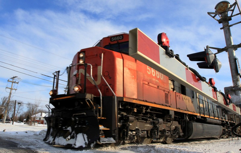 FILE PHOTO: A Canadian National Railway train travels westward on a track in Montreal