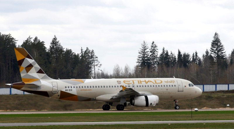 Plane of Etihad Airways company is seen at the National Airport Minsk