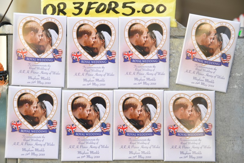 Items for sale are displayed in a shop window in the town centre the day after the wedding of Prince Harry and Meghan, the Duchess of Sussex, in Windsor