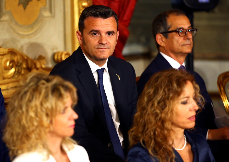 Italy's Minister of Agriculture Gian Marco Centinaio is seen during the sworn-in ceremony at the Quirinal palace in Rome