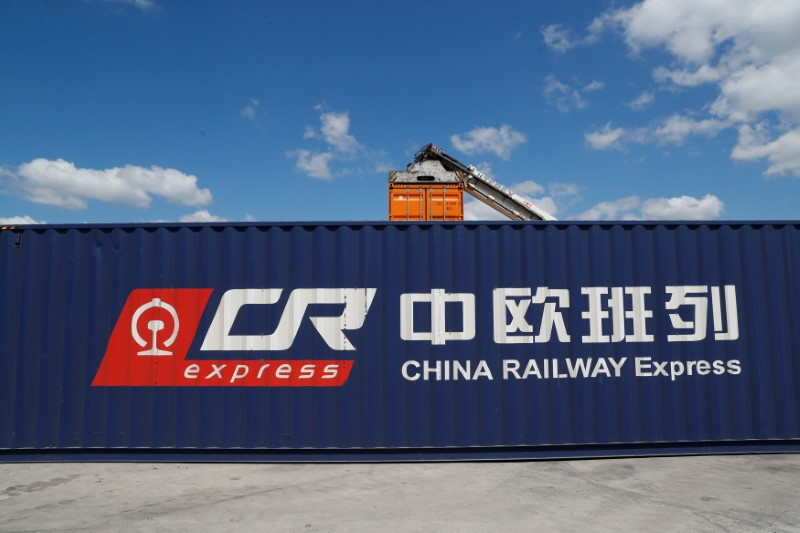 China Railway Express container is seen at Agrostop terminal in Kobylany near Malaszewicze