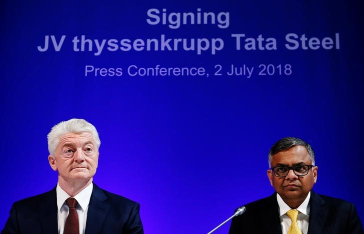 Germany's ThyssenKrupp CEO Hiesinger and Tata Sons Chairman Chandrasekaran hold a joint news conference in Brussels