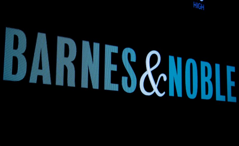 The logo for Barnes and Noble is displayed on a screen on the floor of the NYSE in New York