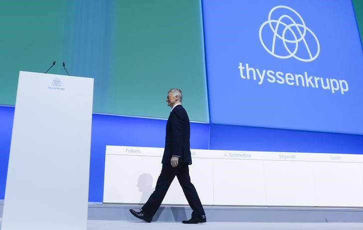 ThyssenKrupp CEO Hiesinger arrives for the company's annual shareholders meeting in Bochum