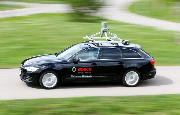Test car, equipped with environment identification sensor technology is pictured at the Bosch research and advance development centre Campus in Renningen