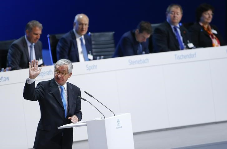ThyssenKrupp supervisory board chairman Lehner waves during the company's annual shareholders meeting in Bochum