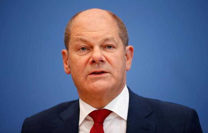 German Vice Chancellor and Finance Minister Olaf Scholz attends a news conference to present the fiscal plan for 2019-2022 in Berlin