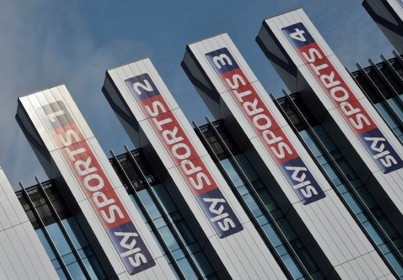 FILE PHOTO: Sky Sports logos are seen on the side of offices at their UK company headquarters in west London