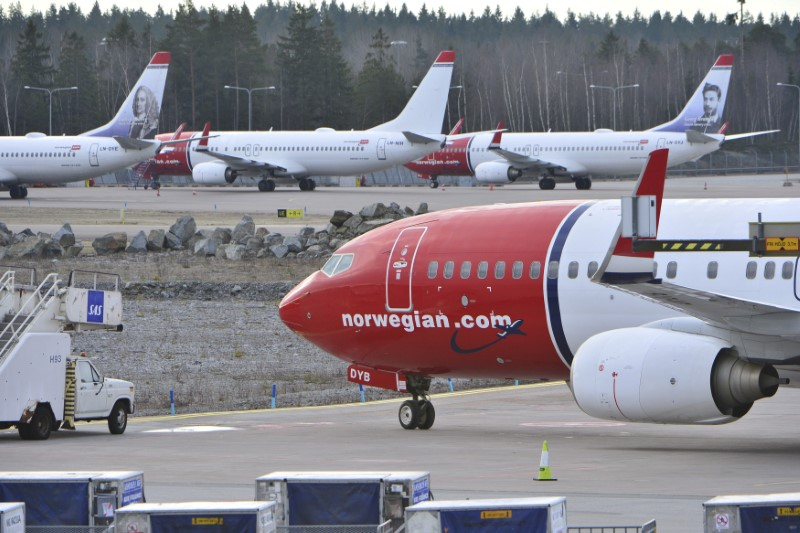FILE PHOTO: Aircraft belonging to budget carrier Norwegian at Stockholm Arlanda Airport
