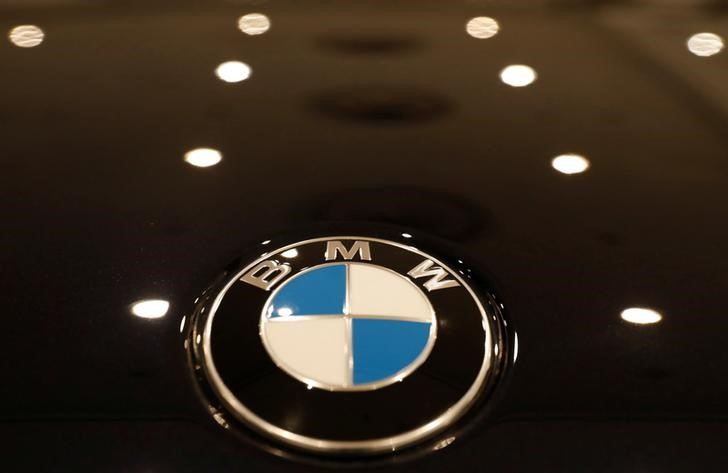 FILE PHOTO: The BMW logo is seen on a vehicle at the New York Auto Show in New York
