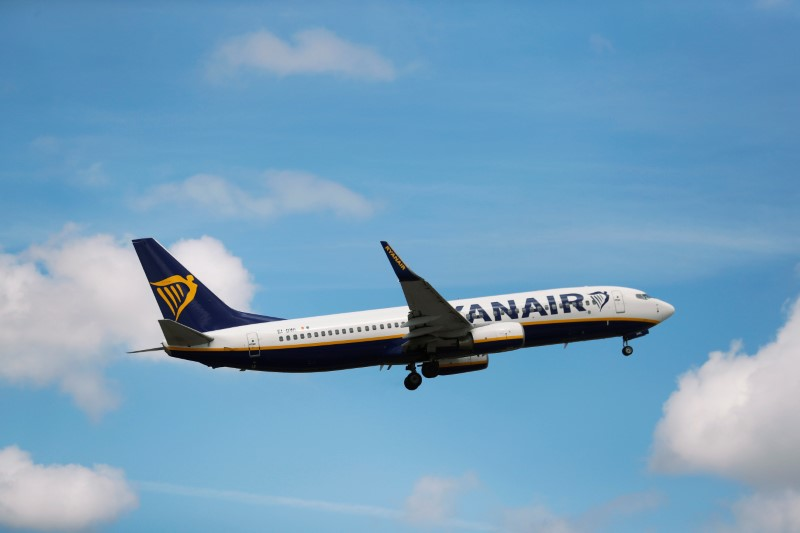 A Ryanair Boeing 737 takes off at Lisbon's airport