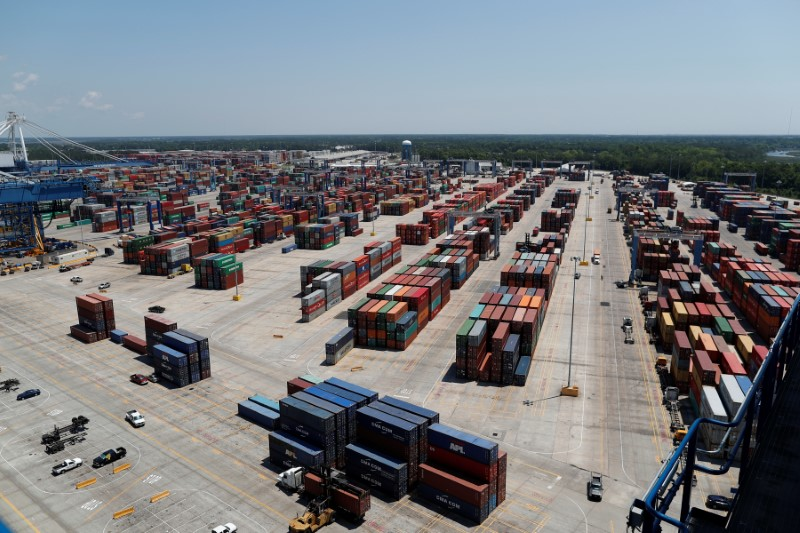 The view from one of the ship-to-shore cranes at Wando Welch Terminal operated by the South Carolina Ports Authority in Mount Pleasant