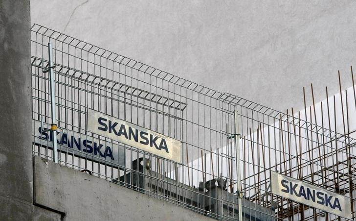 FILE PHOTO - A logo of the construction firm Skanska is seen at a construction site in the centre of Warsaw