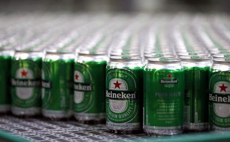 Heineken beers are seen on a production line at the Heineken brewery in Jacarei, Brazil