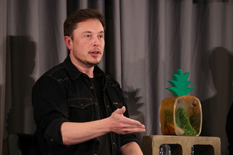 FILE PHOTO - Elon Musk speaks at a Boring Company community meeting in Bel Air, Los Angeles