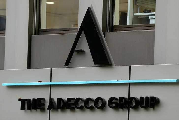 Logo of Swiss Adecco Group is seen at its headquarters in Zurich