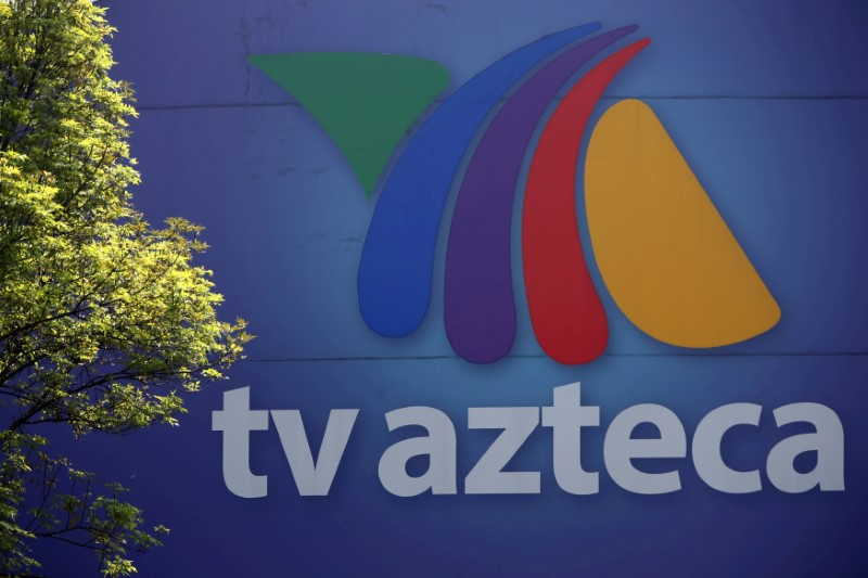 FILE PHOTO: The logo of broadcaster TV Azteca is seen outside its headquarters in Mexico City