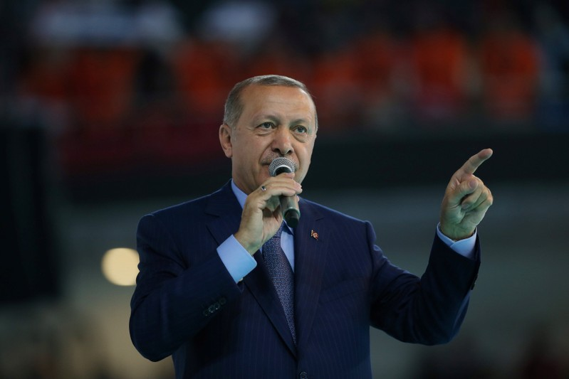 FILE PHOTO - Turkish President Erdogan makes a speech during a meeting of his ruling AK Party in Ankara