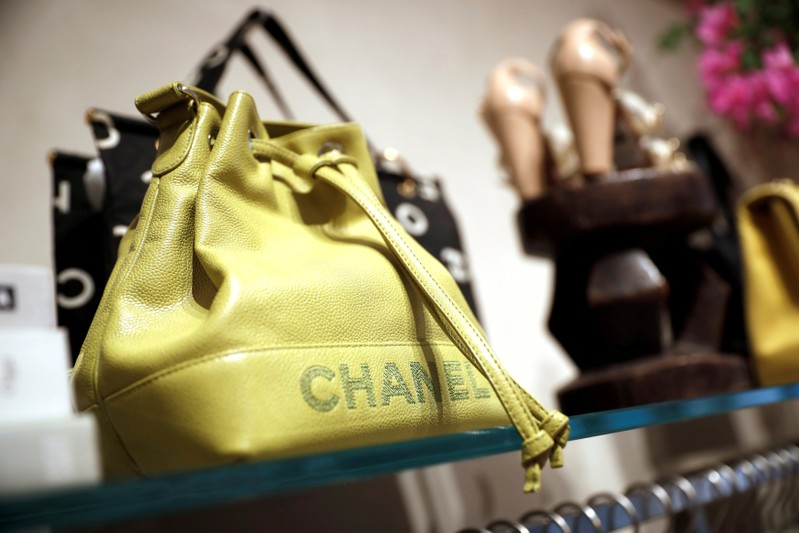 FILE PHOTO: A Chanel handbag for sale is displayed at The RealReal shop, a seven-year-old online reseller of luxury items on consignment in the Soho section of Manhattan, in New York City