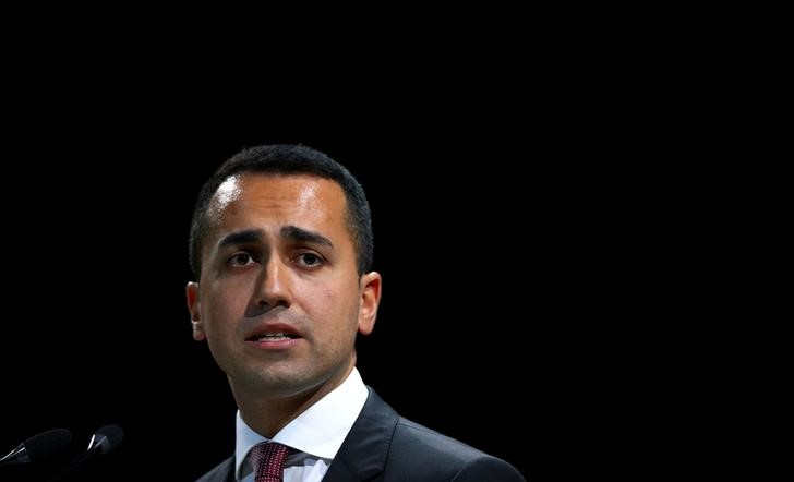 FILE PHOTO: FILE PHOTO: Italian Minister of Labor and Industry Luigi Di Maio speaks at the Italian Business Association Confcommercio meeting in Rome