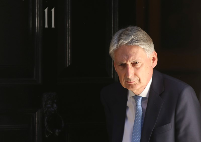 Britain's Chancellor of the Exchequer Philip Hammond leaves 11 Downing Street in London