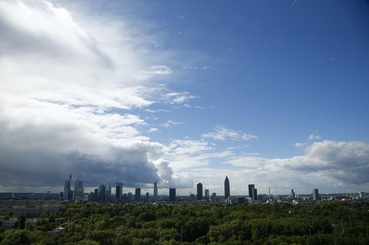 Frankfurt skyline is pictured from the headquarters of Germany's federal reserve Bundesbank in Frankfurt
