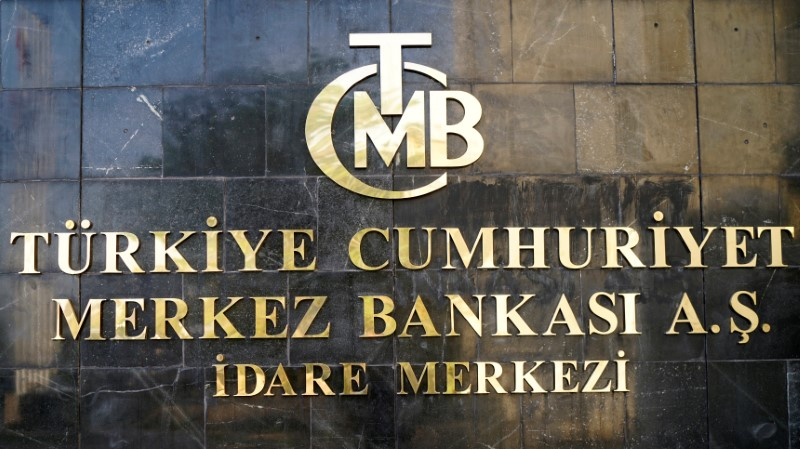 A logo of Turkey's Central Bank is pictured at the entrance of the bank's headquarters in Ankara