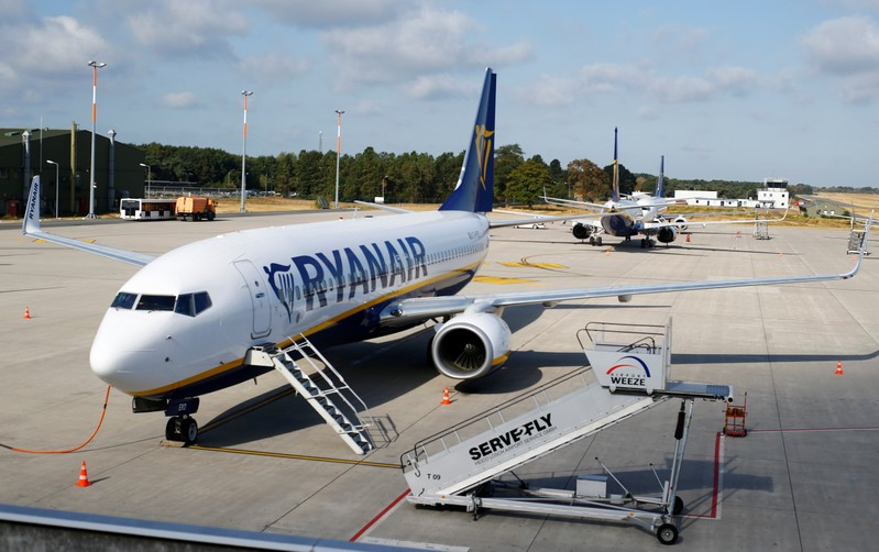 FILE PHOTO:  Aircrafts of low-cost airliner Ryanair are parked at the tarmac of Weeze airport near the German-Dutch border during a wider European strike of Ryanair airline crews