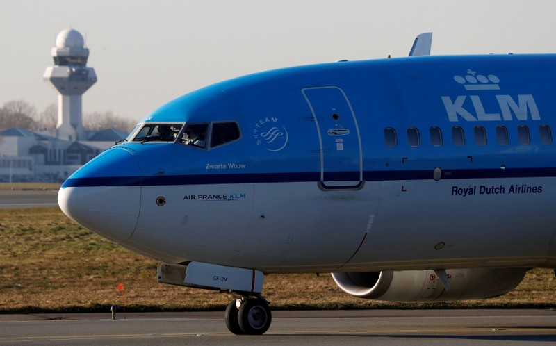 FILE PHOTO: KLM Boeing 737 aircraft taxis to runway at the Chopin International Airport in Warsaw