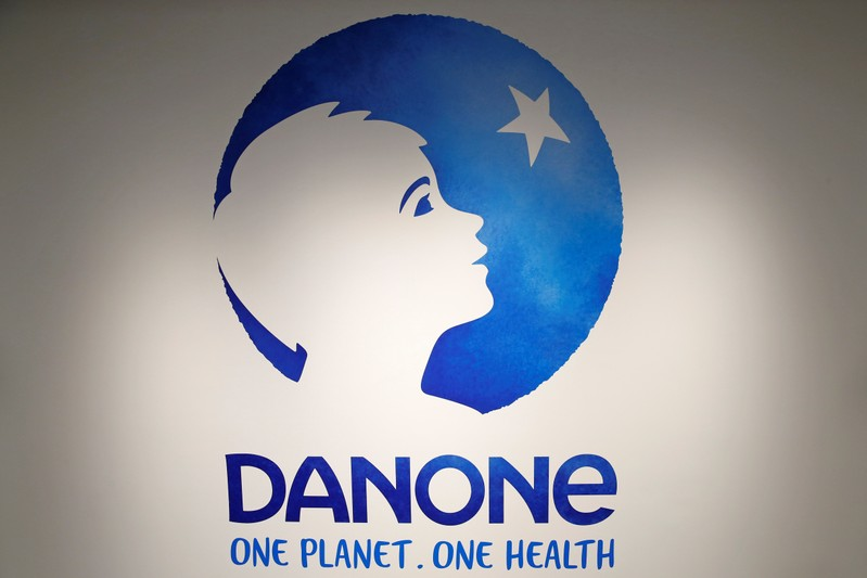 FILE PHOTO: The logo of French food group Danone is pictured during the company's 2017 annual results in Paris