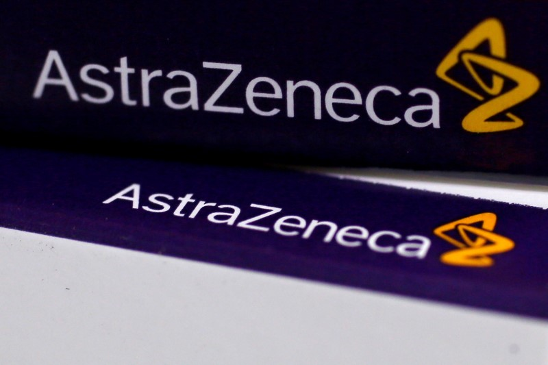FILE PHOTO: The logo of AstraZeneca is seen on medication packages in a pharmacy in London