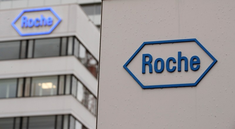 Logo of Swiss drugmaker Roche is seen at its headquarters in Basel