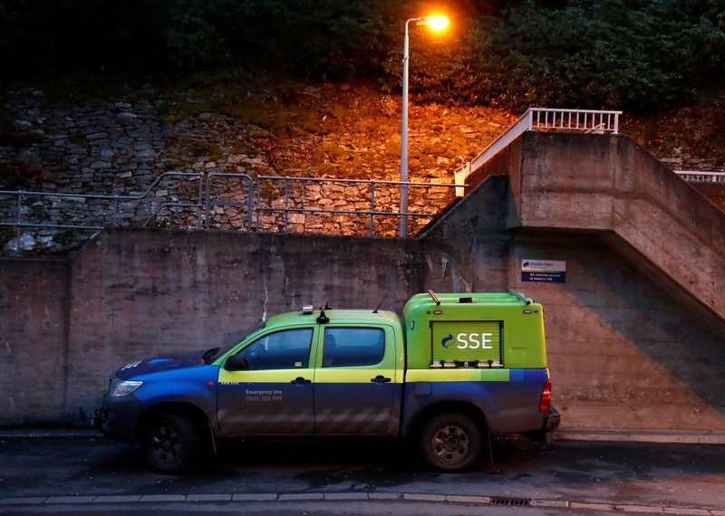 An SSE vehicle is parked outside the Pitlochry Dam hydro electric power station in Pitlochry