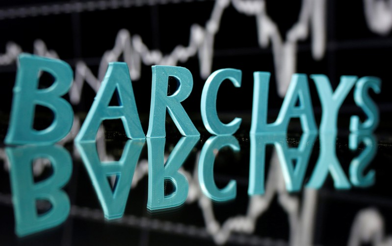 The Barclays logo is seen in front of displayed stock graph in this illustration