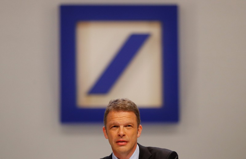 FILE PHOTO: Christian Sewing, new CEO of Germany's Deutsche Bank, addresses the audience during the bank's annual meeting in Frankfurt