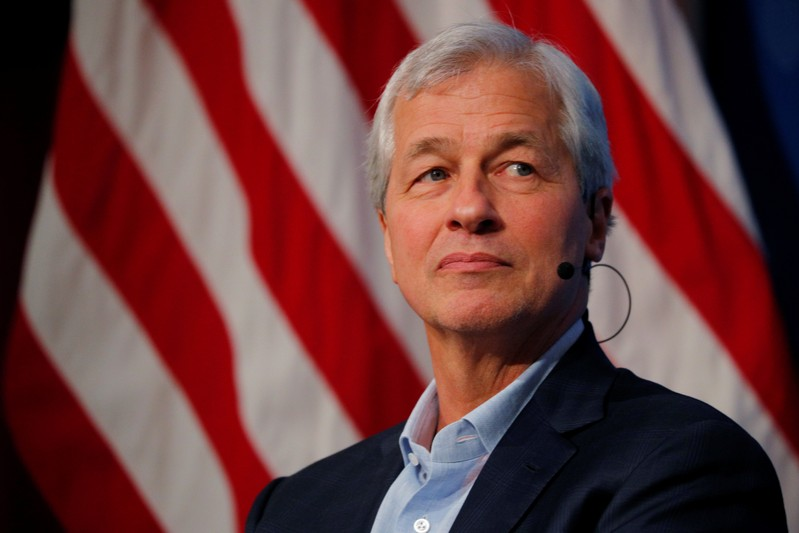 FILE PHOTO - Dimon, CEO of JPMorgan Chase, takes part in a panel discussion about investing in Detroit at the Kennedy School of Government at Harvard University in Cambridge
