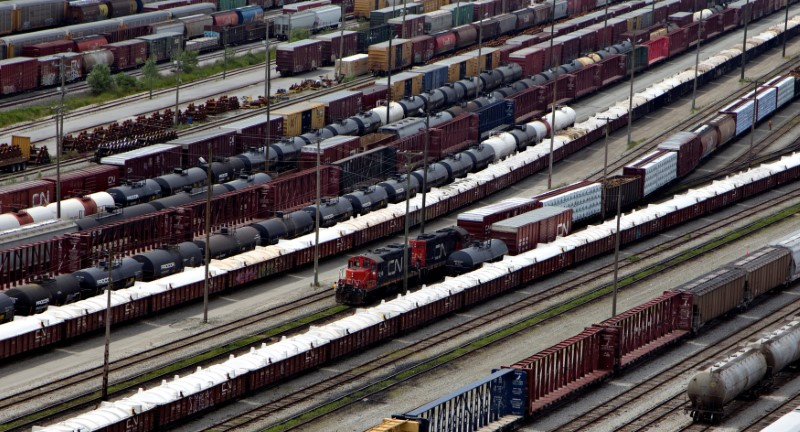 FILE PHOTO: Rail cars including crude tankers are seen at the Canadian Nationals (CN) Thornton Railroad Yards in Surrey