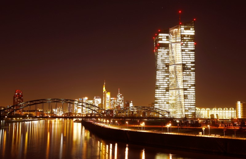 FILE PHOTO: The headquarters of the European Central Bank (ECB) are photographed in front of the skyline with its banking towers in Frankfurt