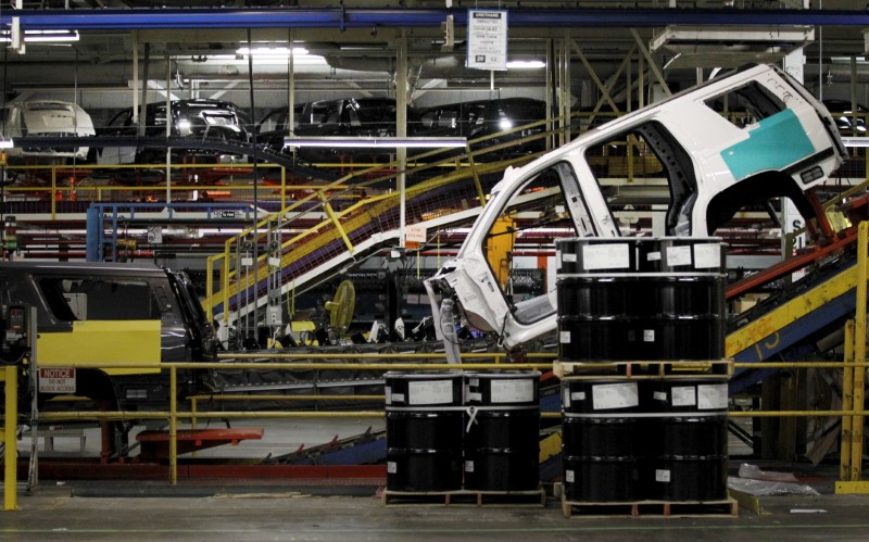 SUV moves through the assembly line at the General Motors Assembly Plant in Arlington, Texas